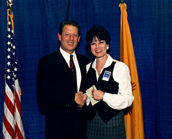 Photo of Cate Stetson with Vice President Gore